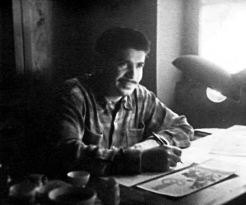 Meu pai, Romeu Borba, desenhando embalagens para a Neugebauer, por volta de 1950.